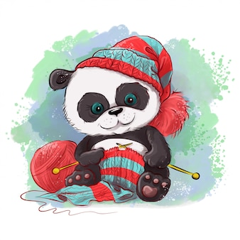 Cartoon watercolor panda knits a scarf.