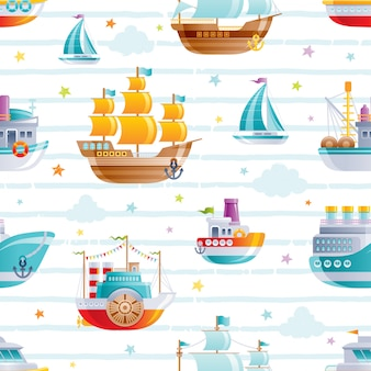Cartoon watet transport seamless pattern. cute baby boy toys. boat, galleon, sail ship wallpaper design.