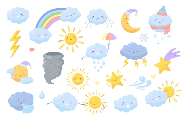 Cartoon weather characters with happy faces clouds lightning rainbow sun moon star icons