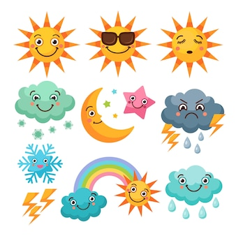 Cartoon weather icons set. funny pictures isolate on white background.