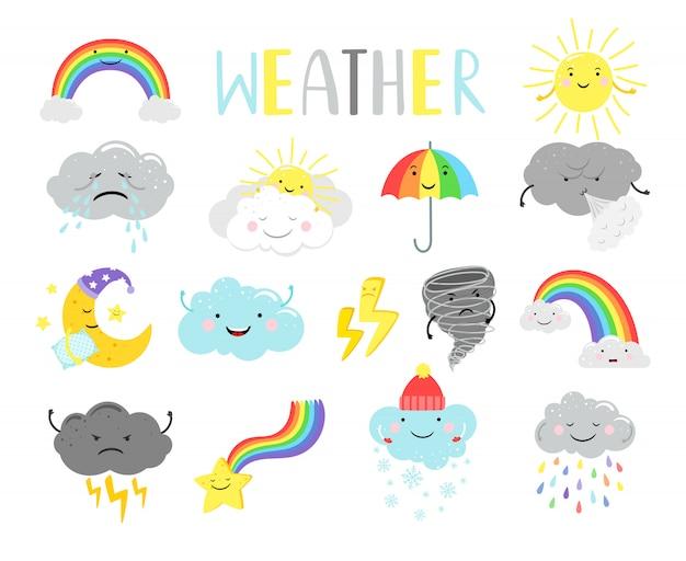 Мультипликационные предметы погоды для детей