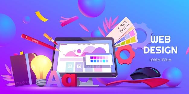 Sfondo di web design dei cartoni animati