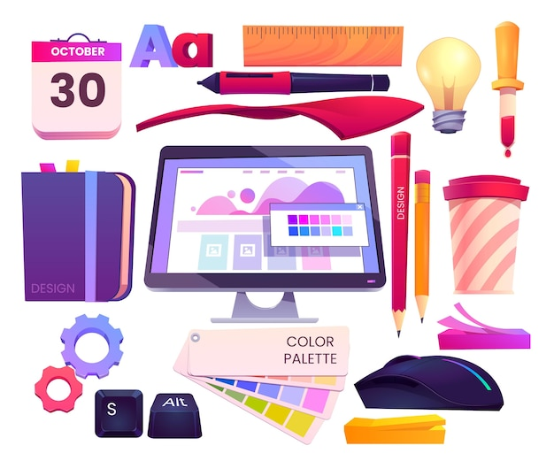 Cartoon web design objects collection