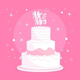 토퍼와 함께 만화 웨딩 케이크