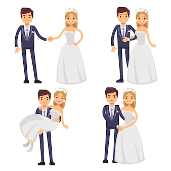 Cartoon wedding couple. just married vector characters.