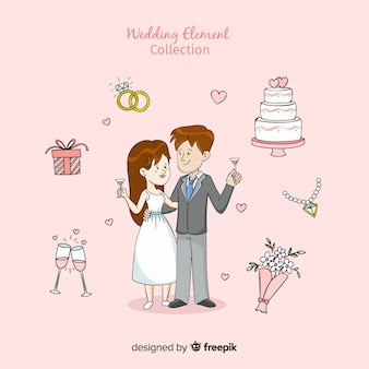 Cartoon wedding element collection