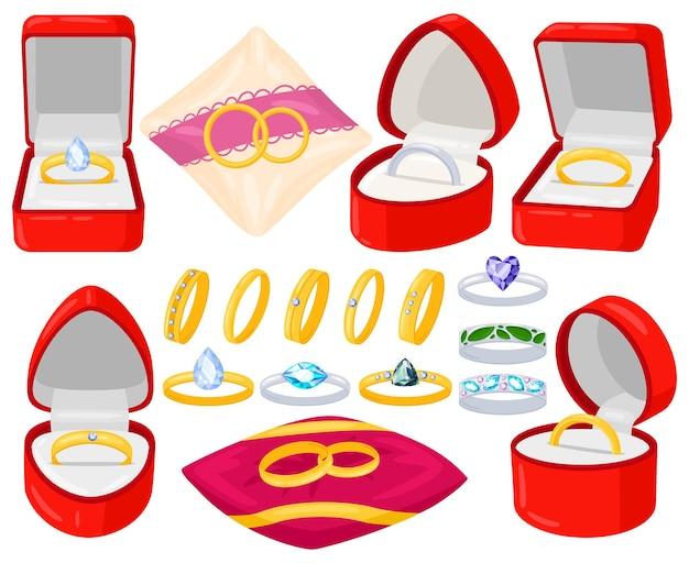 만화 결혼 약혼 보석 금색과 은색 반지입니다. 결혼 제안, 신부 및 신랑 반지는 빨간 벨벳 상자 벡터 삽화 세트에 있습니다. 웨딩 주얼리 액세서리