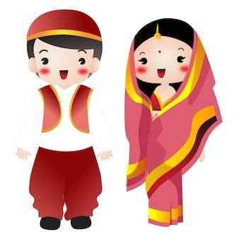 만화 결혼식 인도 귀여운 그림 웨딩 커플 약혼녀 결혼 커플 사랑