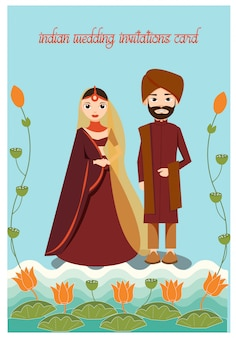 Cartoon of wedding indian couple in traditional dress decorate with lotus and leaf