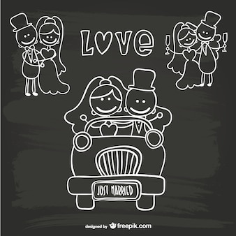 Cartoon wedding just married template