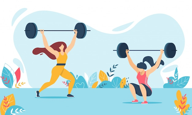 Cartoon weight lifter woman characters training