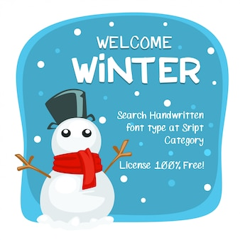 Cartoon welcome winter banner template with snow man