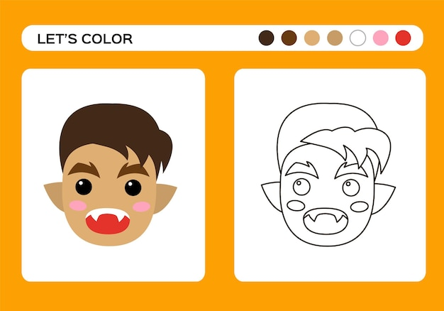 Cartoon werewolf monster cartoon color book coloring education for kids happy halloween game vector