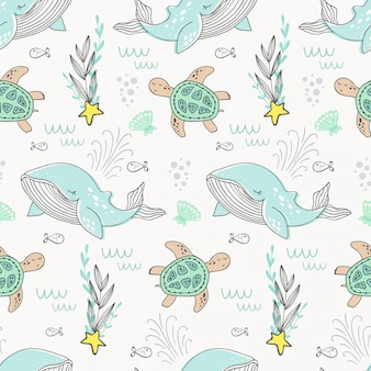 Cartoon whale pattern. sea background