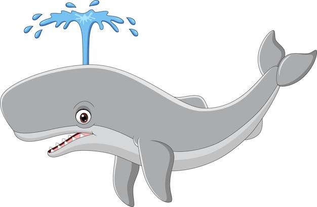 白い背景の上のスプレーと漫画のクジラ