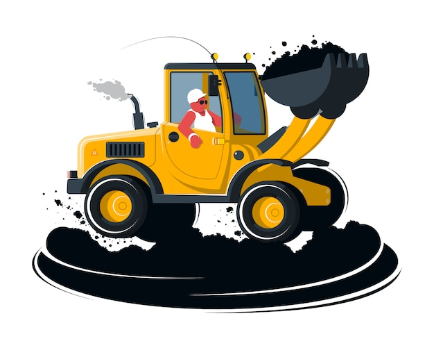 Cartoon wheel loader with driver on black ground