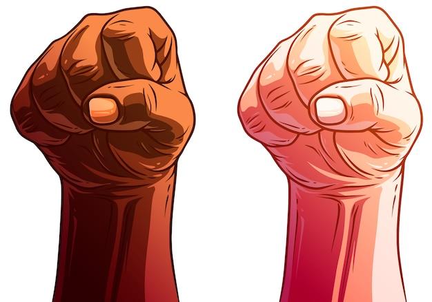 Cartoon white and black human hands   set