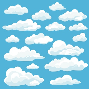 블루에 고립 된 만화 흰 구름 아이콘 세트