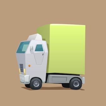 녹색화물 만화 흰색 상업 배달 트럭