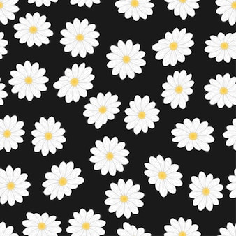 Cartoon white daisy flower seamless pattern