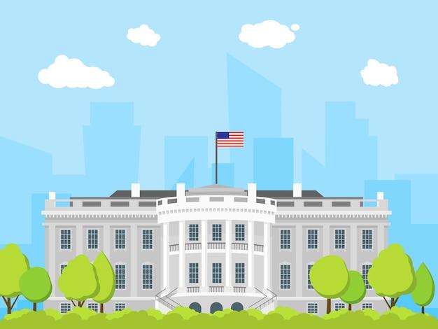 Мультфильм белый дом здание внешний фасад государственной архитектуры дом плоский дизайн стиль. векторная иллюстрация