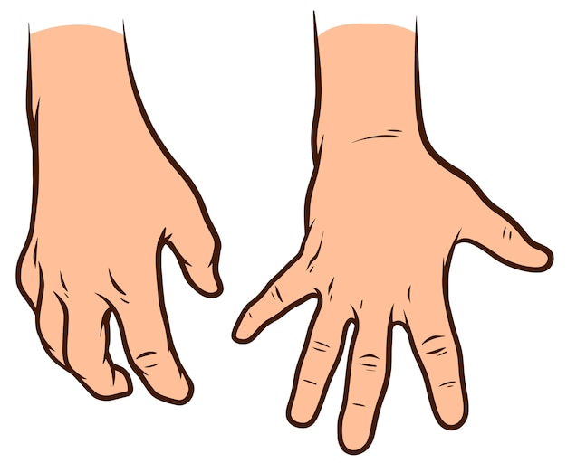 Мультяшный белые человеческие руки установлены