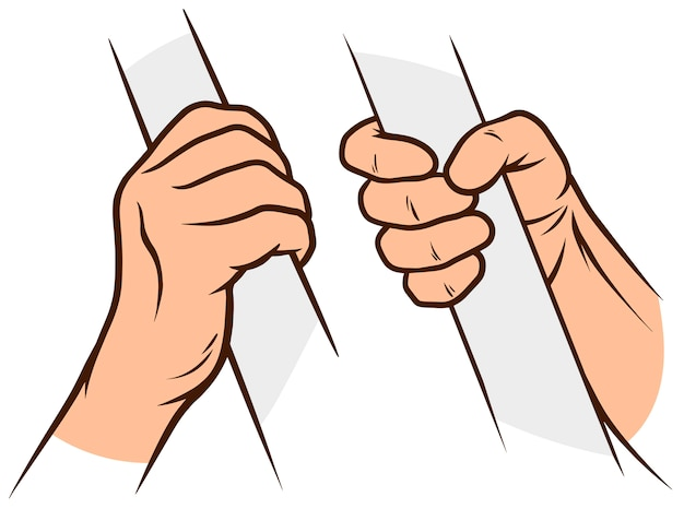 Cartoon white human hands set