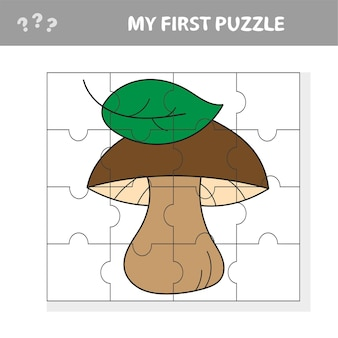 Cartoon white mushroom with leaves. paper game my first puzzle for children and kids