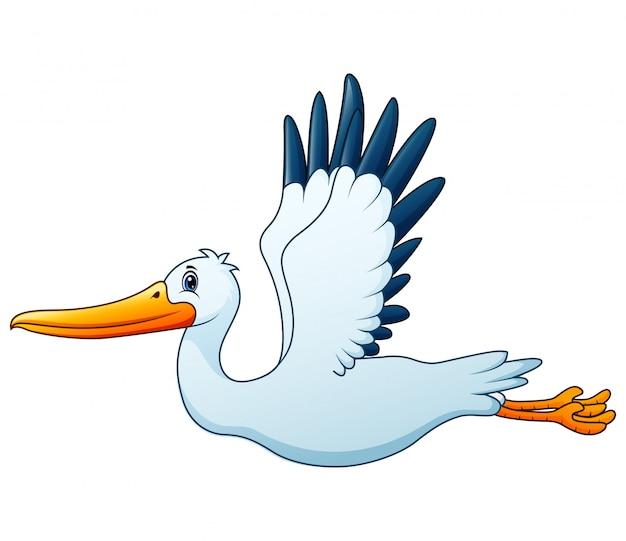 Cartoon white stork flying