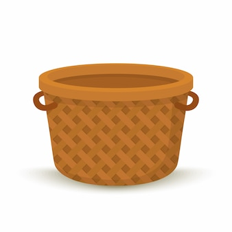 Cartoon wicker basket, container for picnic