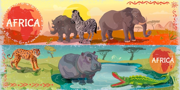 Cartoon wild africa horizontal banners