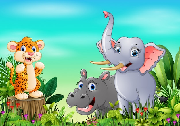 Cartoon wild animal in the beautiful garden