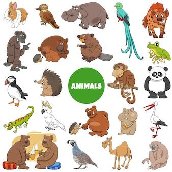 漫画の野生動物のキャラクターの大きなセット