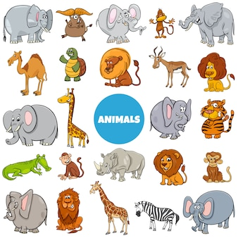 Cartoon wild animal characters large set