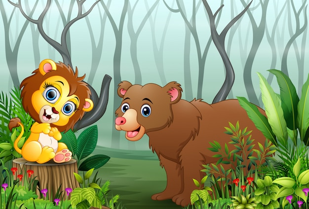 Cartoon wild animal in the forest with dry tree branches