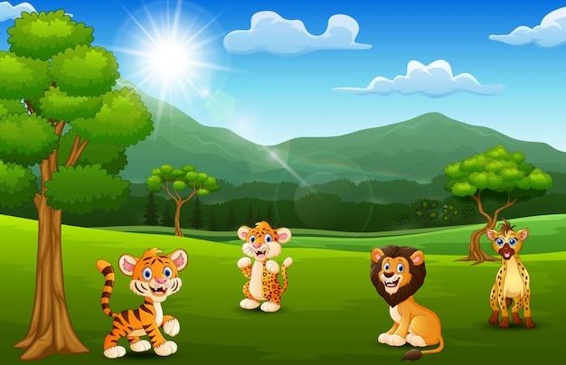 Мультфильм диких животных в джунглях с горным фоном