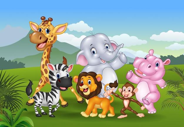 ジャングルの漫画野生動物 Premiumベクター