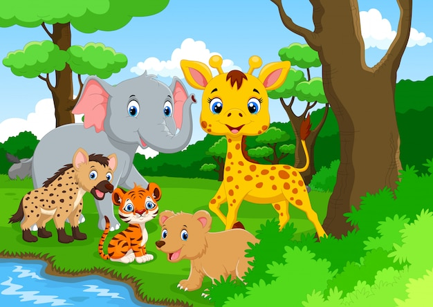 Cartoon wild animal in the jungle