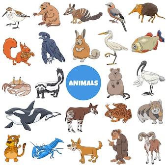 漫画の野生動物種のキャラクターの大きなセット
