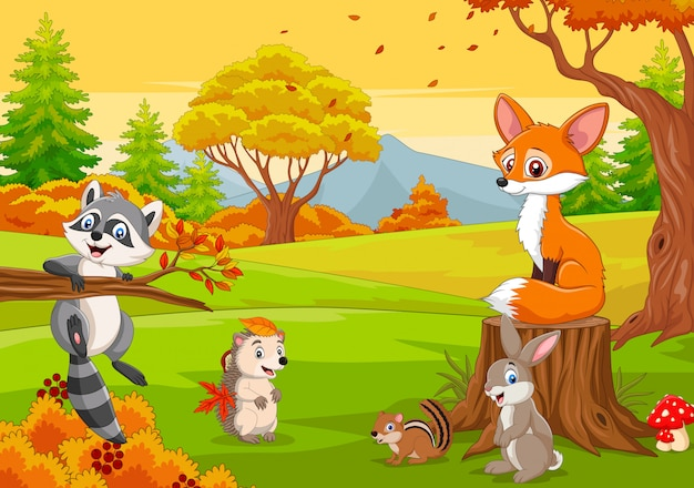 Cartoon wild animals in the autumn forest