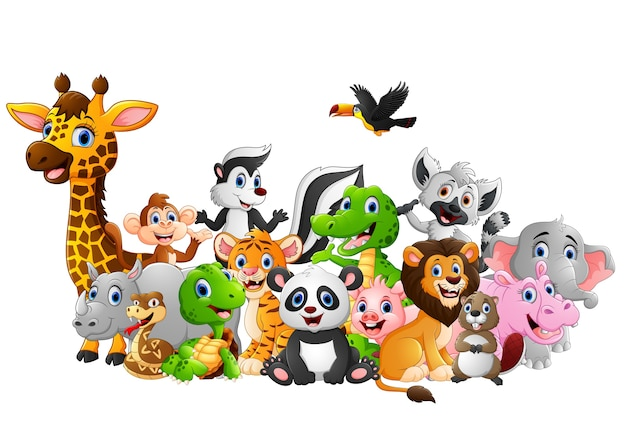 Cartoon wild animals background