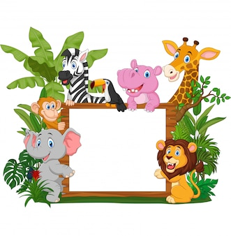 Cartoon wild animals holding blank board