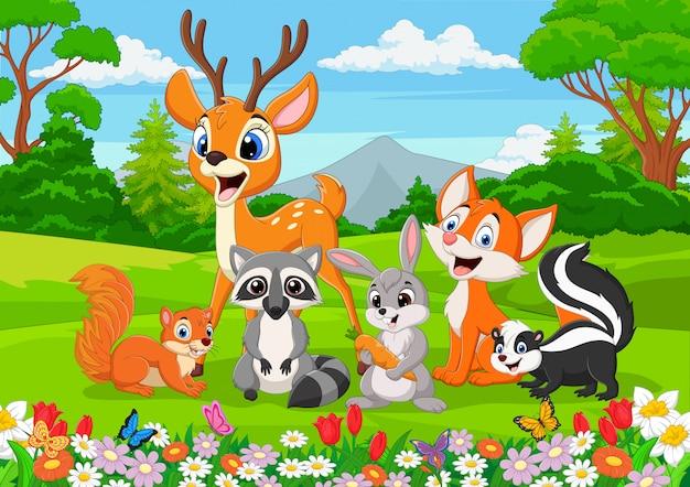Мультфильм диких животных в джунглях