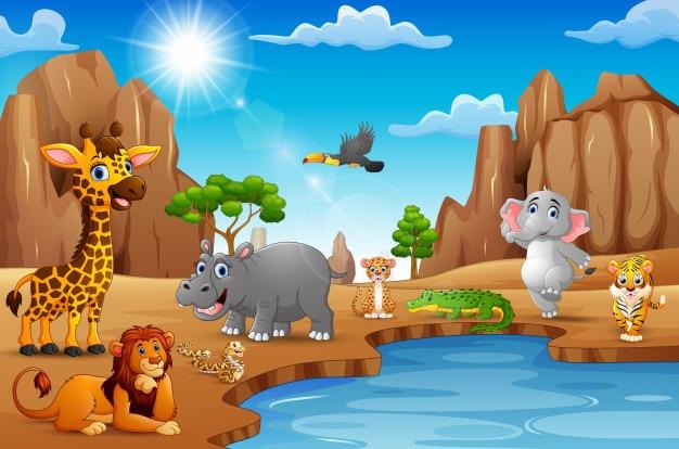 Cartoon wild animals living in the desert