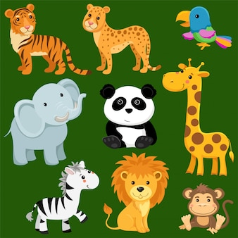 Cartoon wild animals of savanna and desert.