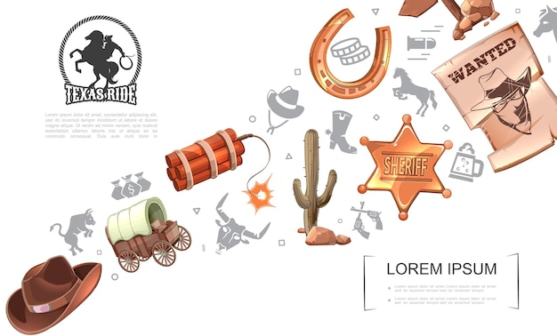 Cartoon wild west concept with cowboy hat, horse carriage, dynamite, cactus, sheriff badge, horseshoe, wanted poster, wooden signboard