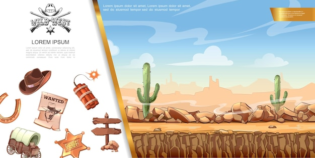 Мультяшный дикий запад иллюстрации и элементы концепции