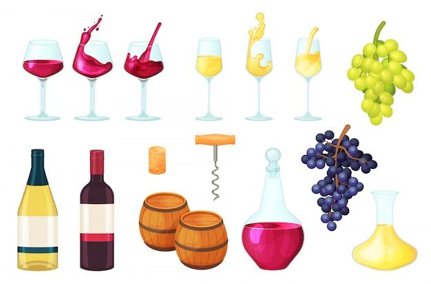 Мультфильм вина иллюстрации, бутылка рюмки алкоголя, красный или белый напиток жидкость в стекле, бочка для напитков набор иконок на белом