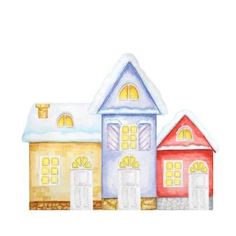 만화 겨울 크리스마스 하우스. 빨간색, 노란색, 파란색 집의 전면 모습. 수채화 새 해 인사말 카드 개념 프리미엄 벡터