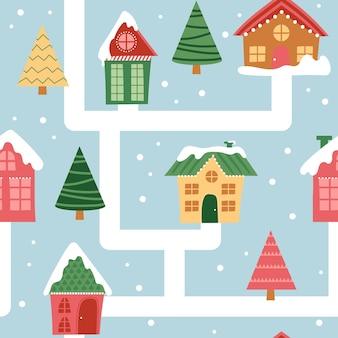 漫画の冬のクリスマスの町のシームレスなパターン。家の間の雪道
